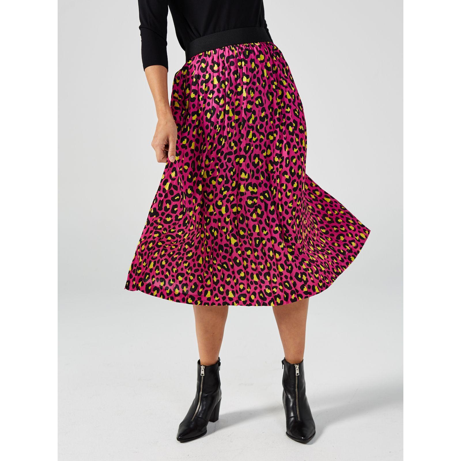 Helene Berman Animal Print Pleated Skirt - QVC UK