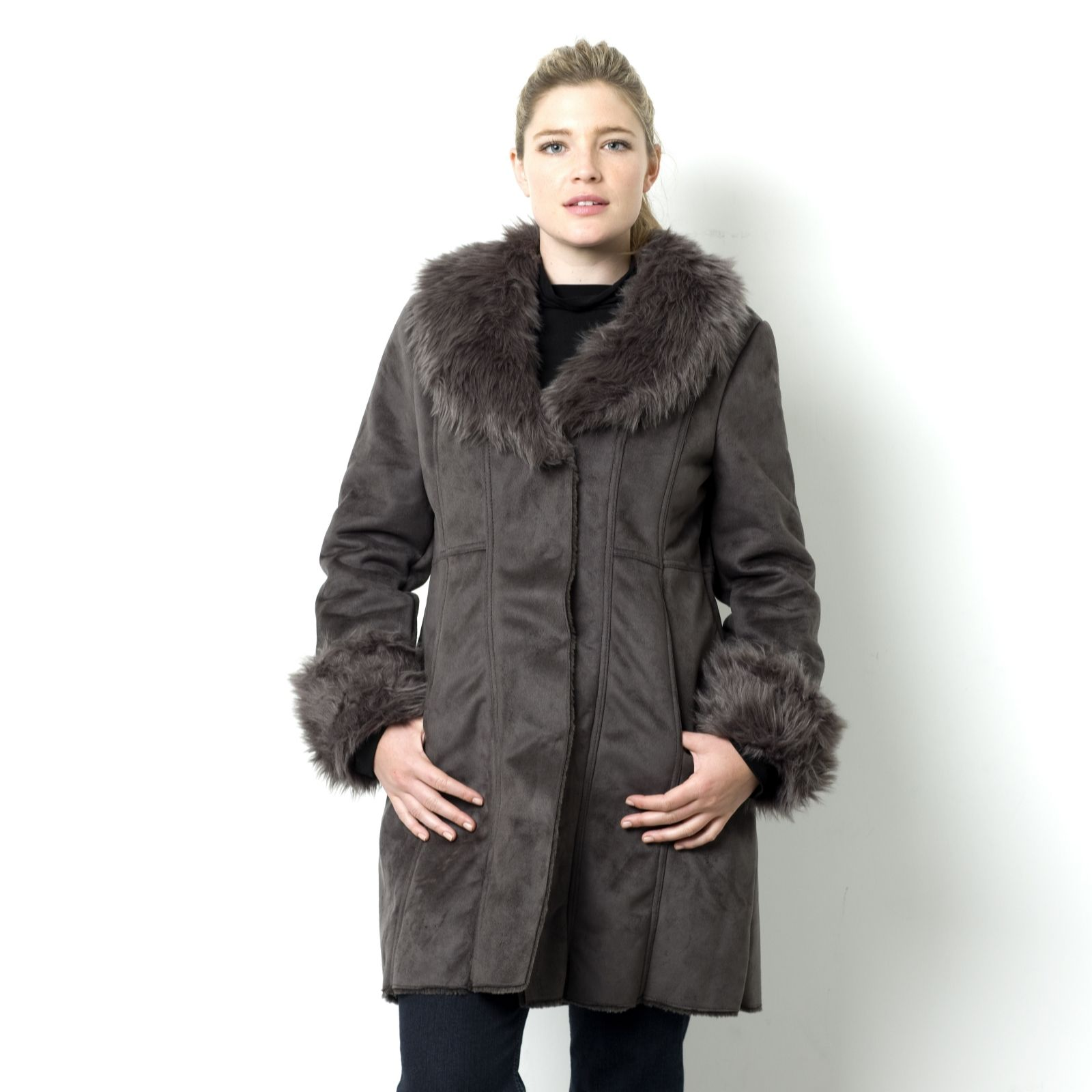 e52a3a426f3 Centigrade Machine Washable Faux Shearling Coat with Faux Fur Collar - Page  1 - QVC UK
