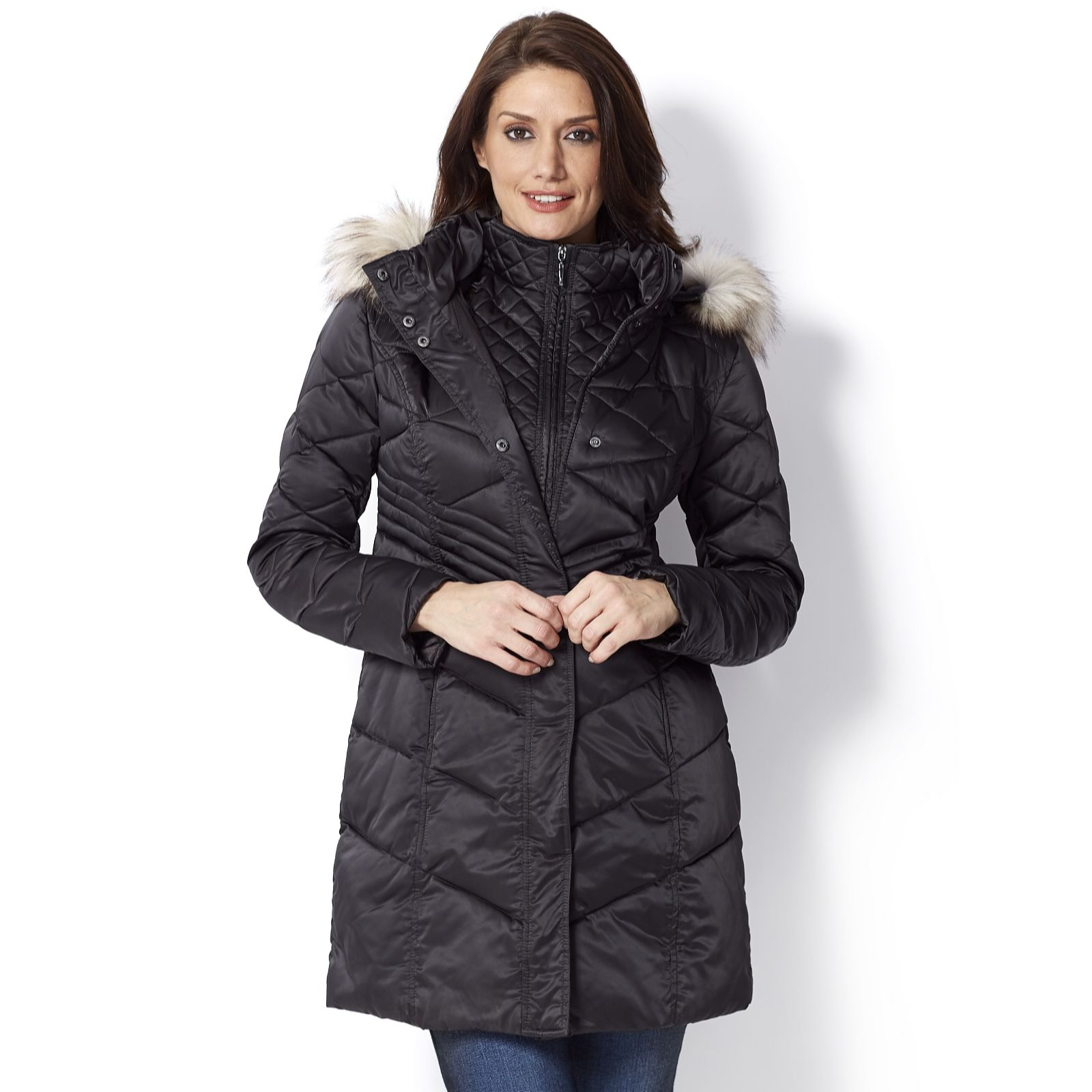 92cbbe74eb0f8 Centigrade Coat with Fooler   Detachable Faux Fur Trim Hood - Page 1 ...
