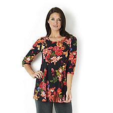 Kim & Co Rose Lilly Brazil Knit Jersey 3/4 Sleeve Tunic Flared Hem