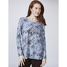 Kim & Co Soft Touch Lynx Print Long Sleeve V Neck Tunic