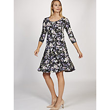 3/4 Sleeve Trapeze Dress with Crossover Back Detail by Nina Leonard