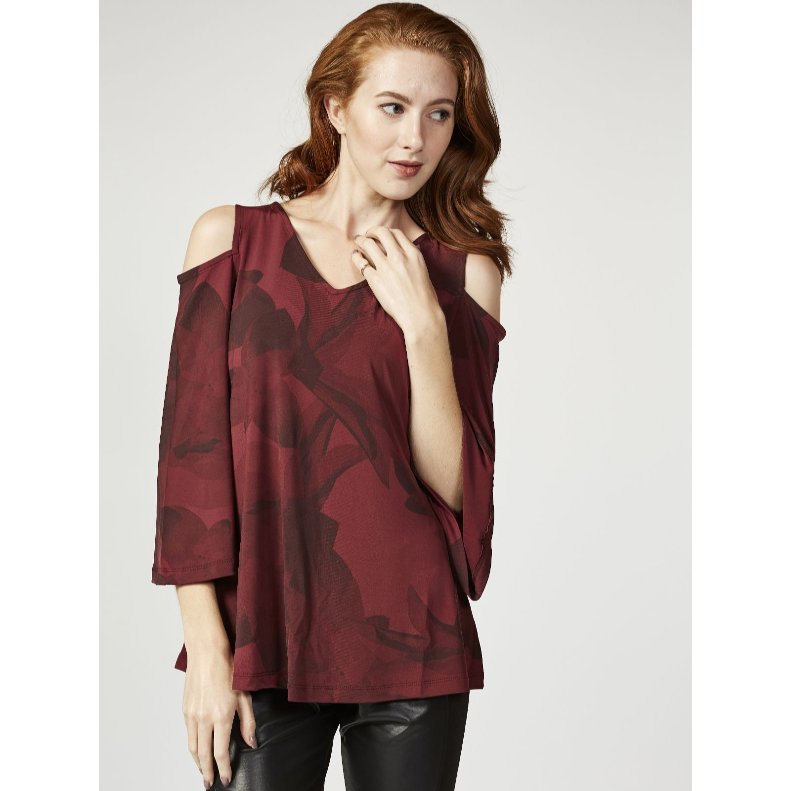 4156217bf63968 H by Halston Printed Cold Shoulder Top with Flutter Sleeves - QVC UK