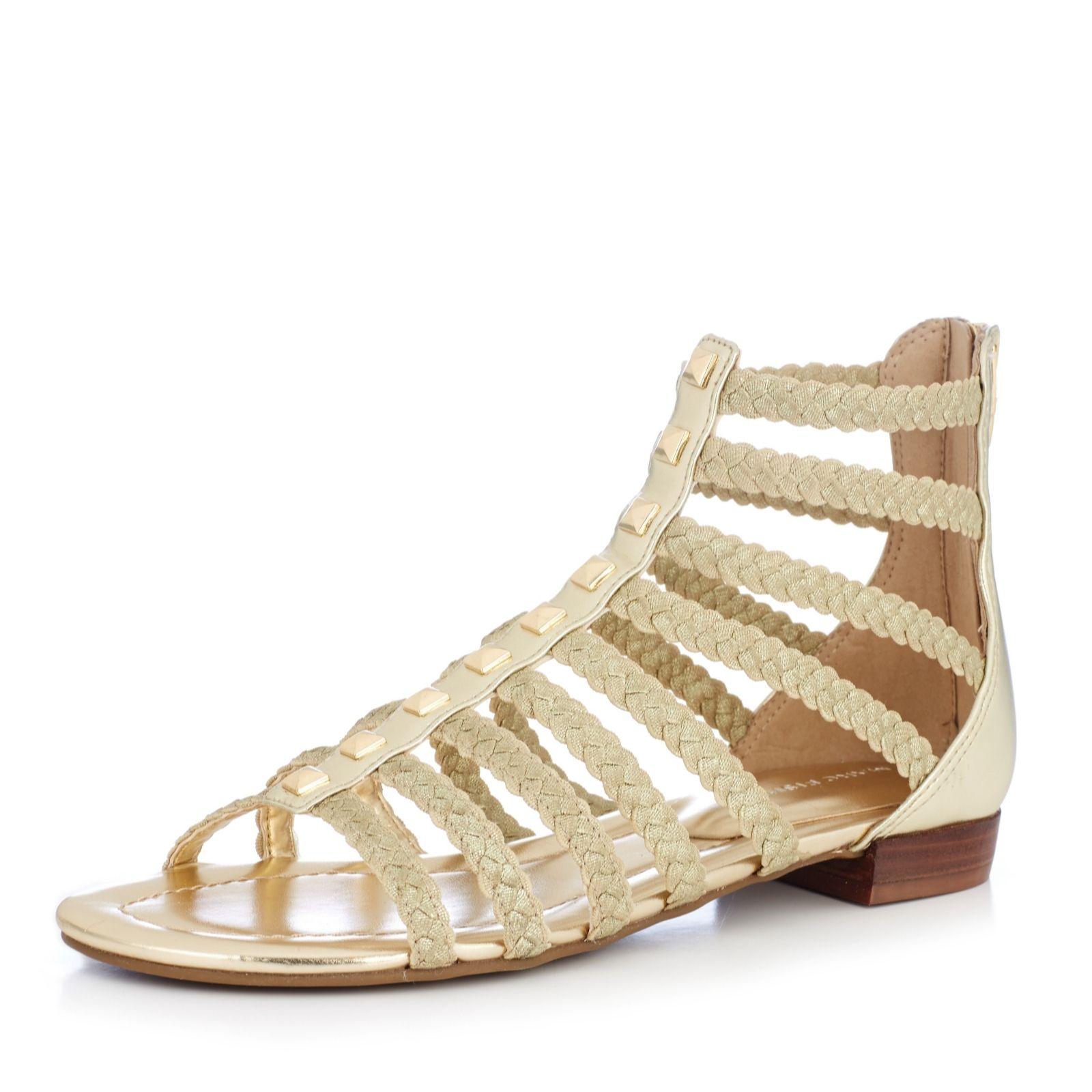 c9af4a7317da Marc Fisher Pepita Zip Back Flat Gladiator Sandal with Elasticated ...