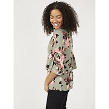 Denim & Co. Printed Jersey Round Neck 3/4 Bell Sleeve Peasant Top
