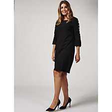 3/4 Sleeve Crepe Dress with Faux Pearl Detail by Nina Leonard