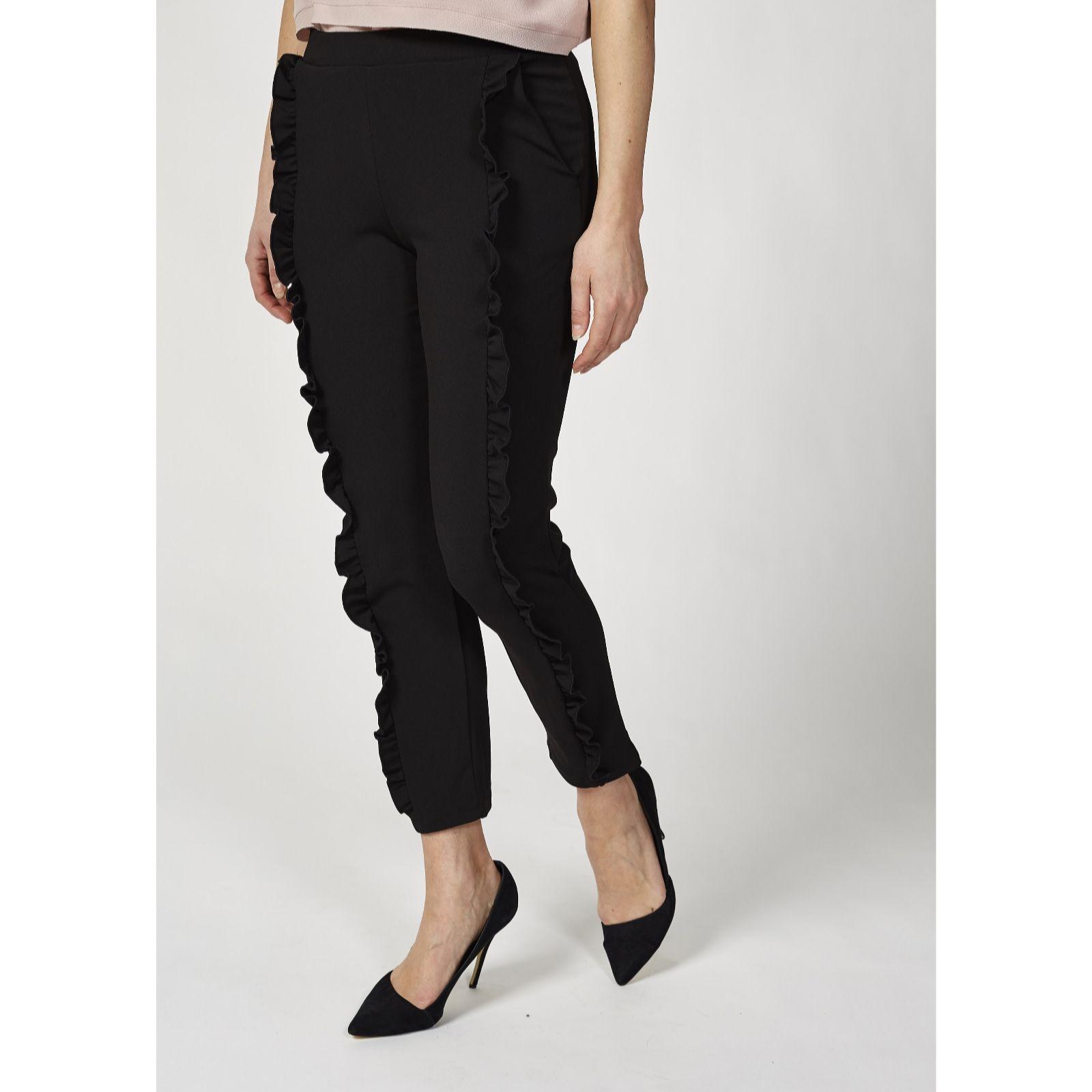 9dab467e4ad Skinny Leg Crepe Trousers with Ruffle Detail by Nina Leonard - QVC UK
