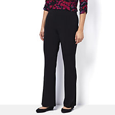 Kim & Co Silky Brazil Knit Pin Tuck Fit Flared Trousers Regular Length