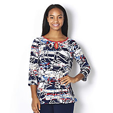 Kim & Co Brazil Knit Nautical Flowers 3/4 Sleeve Combo Tunic