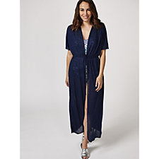 Kim & Co Holiday Linen Look Knit Maxi Drawstring Cover Up