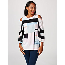 Andrew Yu Printed 3/4 Sleeve Cold Shoulder Top