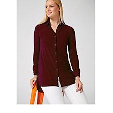 3/4 Sleeve Button Jersey Long Line Shirt by Nina Leonard