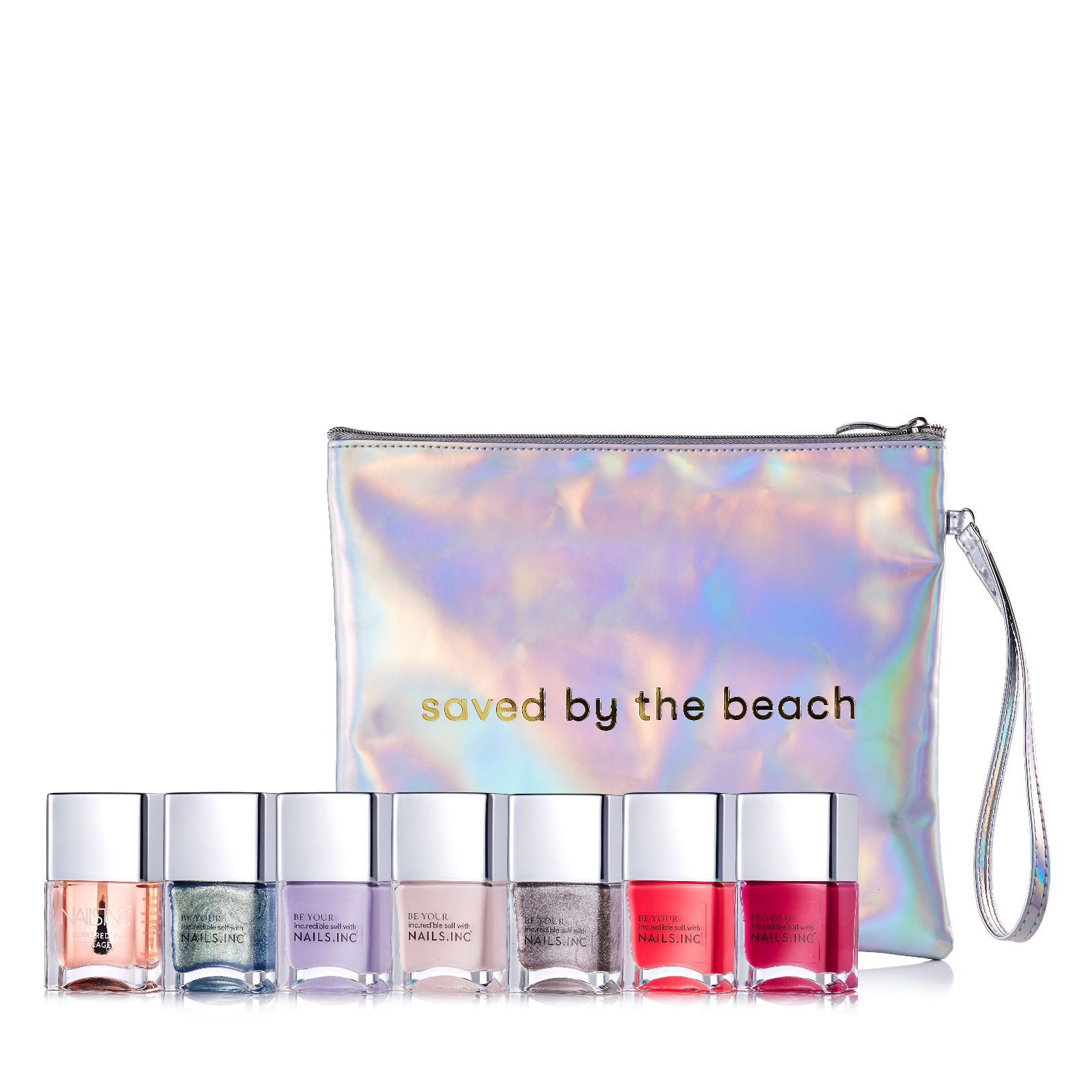 Nails Inc 7 Piece Saved By The Beach Collection & Bag - QVC UK