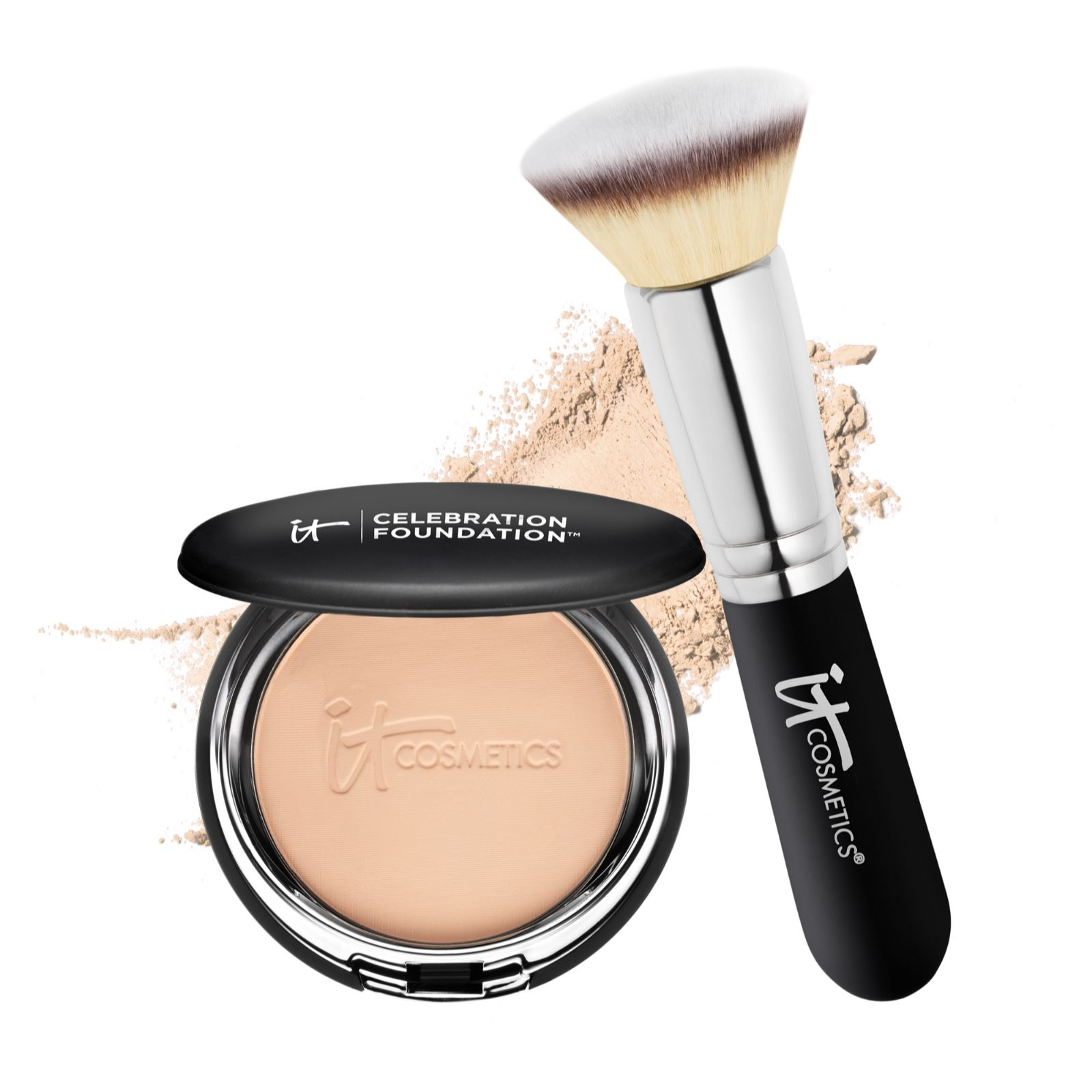 9a2d8a89abc IT Cosmetics Celebration Foundation & Heavenly Luxe Flat Top Brush - Page 1  - QVC UK