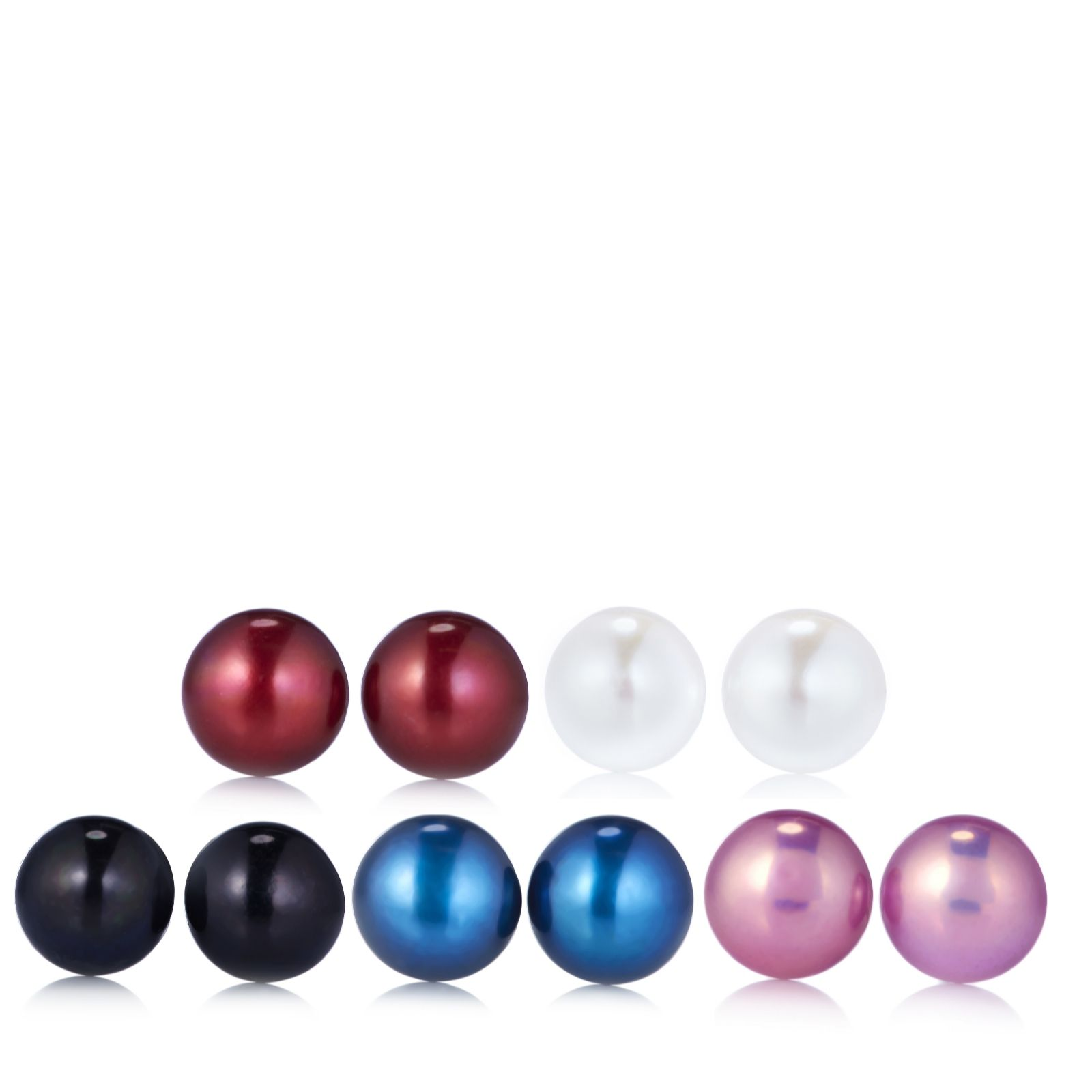 Honora 8 9mm Cultured Pearl Set Of 5 Stud Earrings With Hybacks Page 1 Qvc Uk