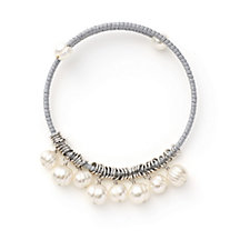 Honora 7-9mm Cultured Ringed Chain Pearl Wrap Bracelet Silvertone Bronze