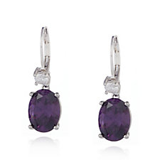 Elizabeth Taylor 5.5ct tw Simulated Amethyst Oval Drop Earrings