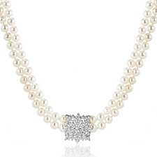 Honora 6-7mm Cultured Pearl White Topaz 45cm Necklace Sterling Silver