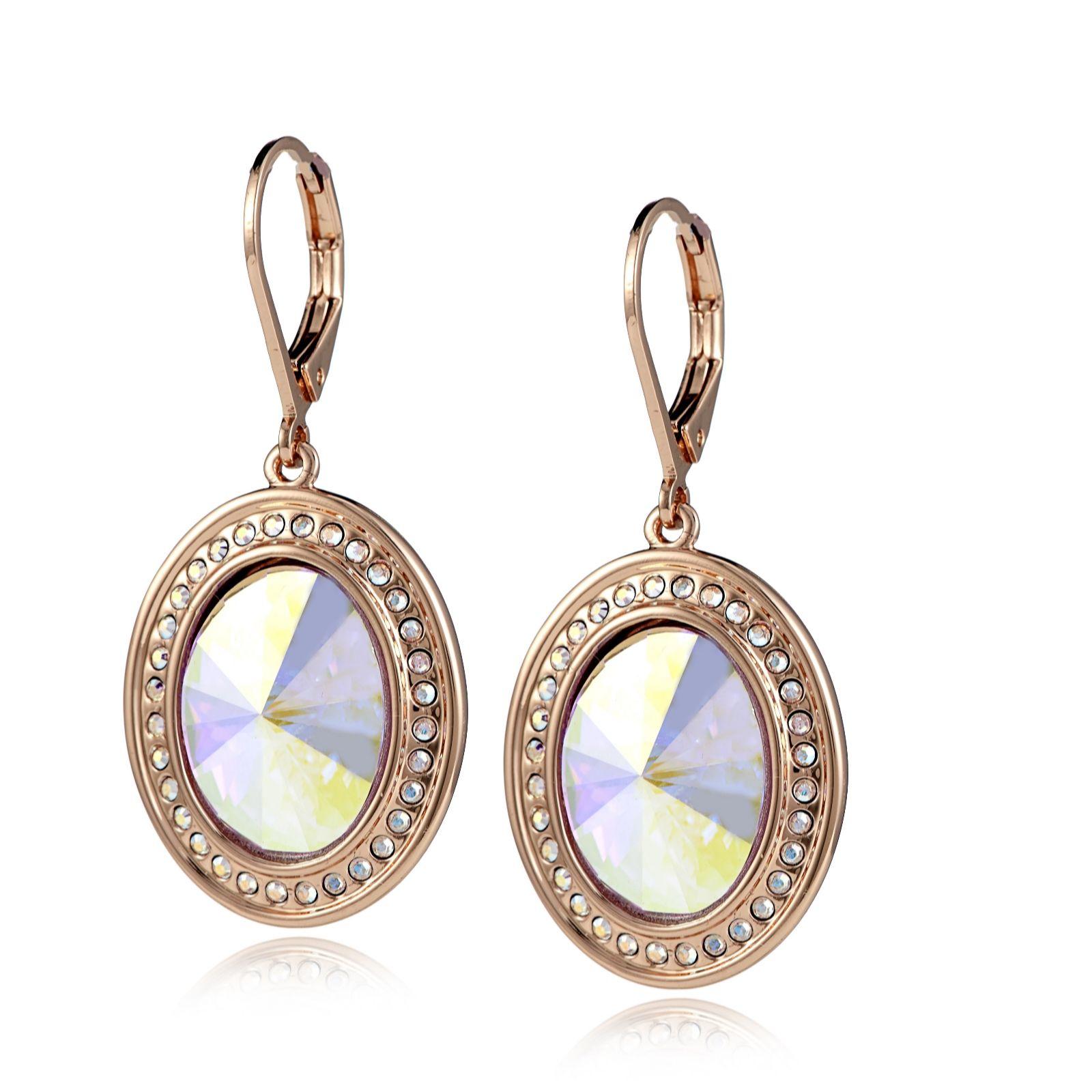 069c7fe2c Aurora Swarovski Crystal Rivoli Leverback Earrings - QVC UK