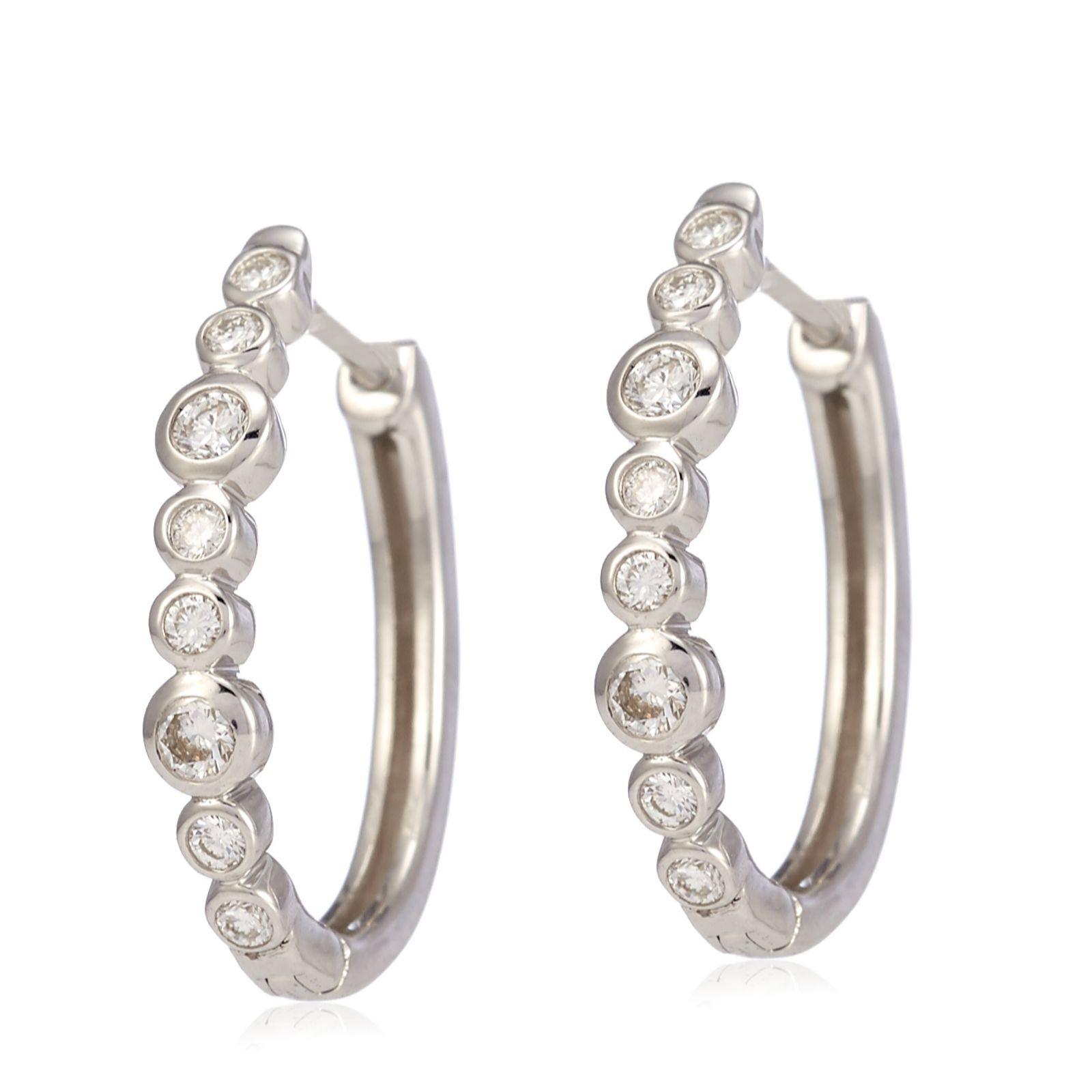 17888d0cf333d1 0.30ct E-F Diamond Bubbles Huggie Earrings 9ct White Gold - QVC UK
