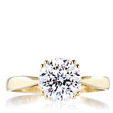 Diamonique 2ct tw 100 Facet Solitaire Ring 9ct Gold