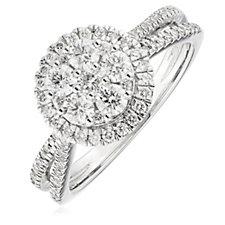0.64-0.75ct Diamond Cluster Halo Split Shoulder Ring 9ct Gold