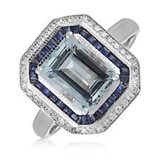 2.00ct Aquamarine Octagon Cut 0.50ct Sapphire & 0.12ct Diamond Platinum Ring