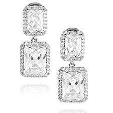 Frank Usher Crystal Double Drop Magnetic Earrings