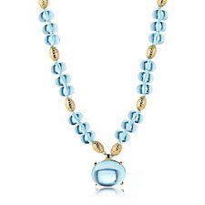 Elizabeth Taylor Graduated Simulated Aquamarine 43cm Necklace