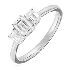 1.00ct Certified H SI Diamond Emerald Cut Trilogy Ring 18ct Gold