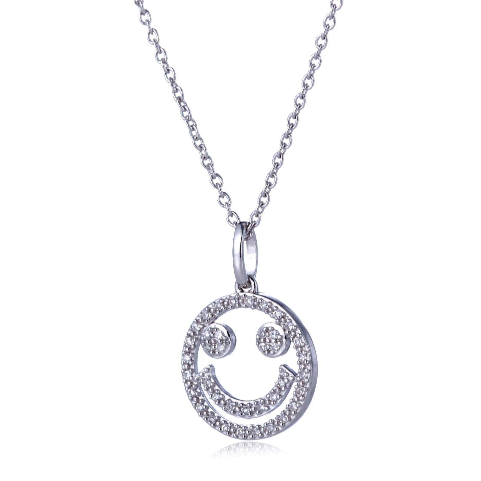 cc19dcea68 Lisa Snowdon Diamond Happy Face 45cm Necklace Sterling Silver - QVC UK
