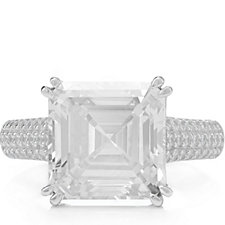 Michelle Mone for Diamonique Asscher Cut Cocktail Ring Sterling Silver