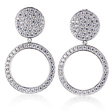 Michelle Mone for Diamonique 1.3ct tw Pave Circle Earrings Sterling Silver
