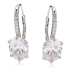 Diamonique 3ct tw Oval Leverback Earrings Sterling Silver
