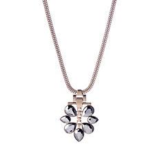 Pilgrim Statement Hematite Flower Pendant 39cm Necklace