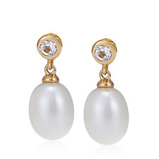 Links of London Pearl & White Topaz Drop Earrings Sterling Silver