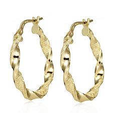 9ct Gold Textured Twist Hoop Earrings