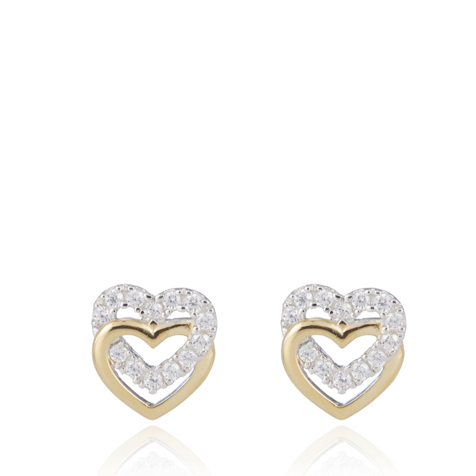 80f0c1fdd Diamonique 0.2ct tw Double Heart Stud Earrings Sterling Silver - QVC ...