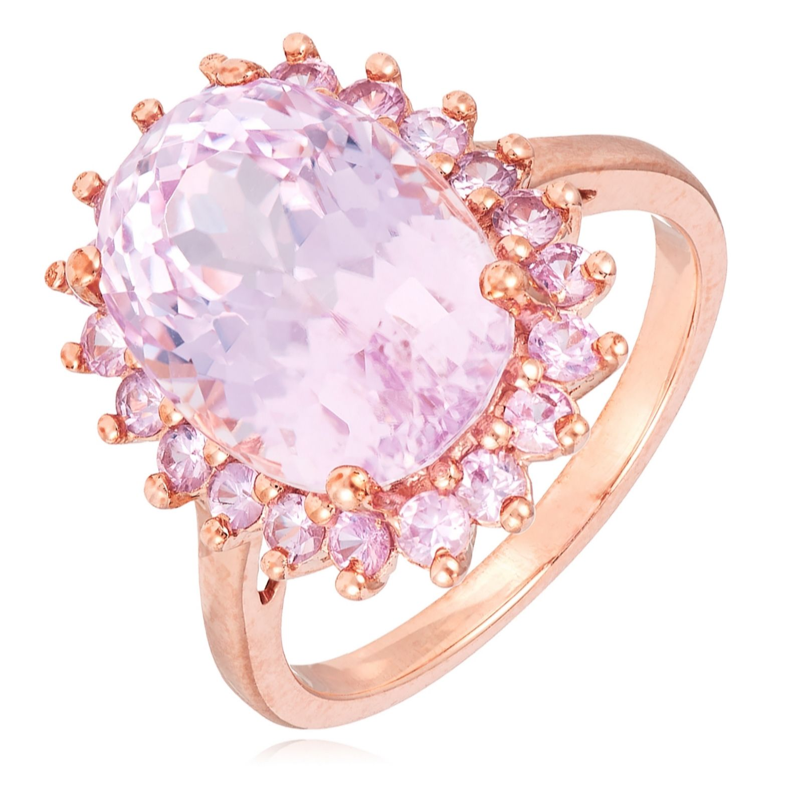 d58f77c26225d 6.00ct Kunzite & 0.88ct Pink Sapphire Halo Cocktail Ring 9ct Gold - QVC UK