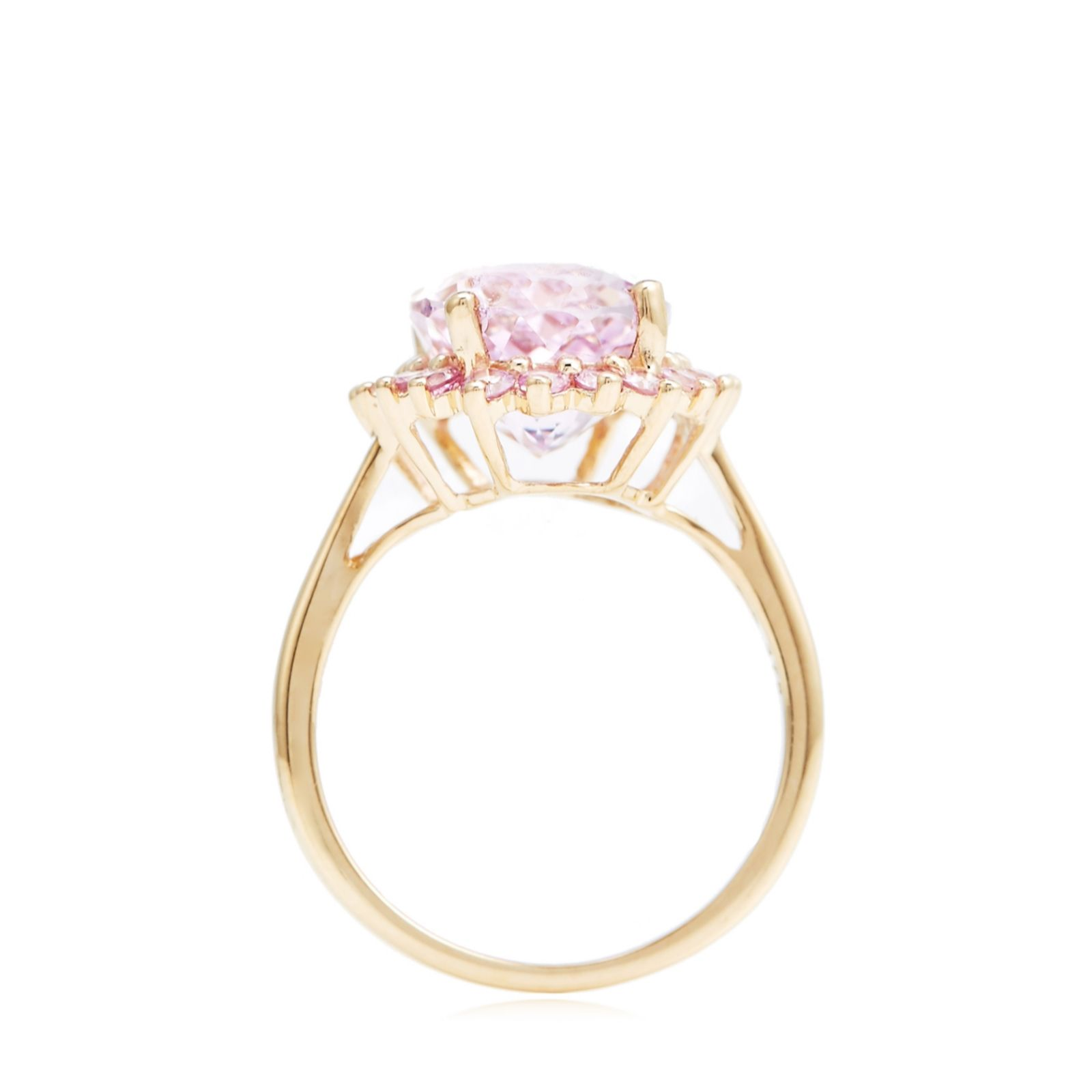 6 00ct Kunzite Amp 0 88ct Pink Sapphire Halo Cocktail Ring