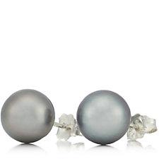 8-9mm Cultured Tahitian Pearl Stud Earrings Sterling Silver
