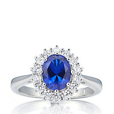 Diamonique 1.7ct tw Simulated Sapphire Cocktail Ring Sterling Silver