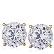 Diamonique 6ct tw 100 Facet Stud Earrings Sterling Silver