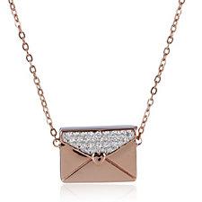 Diamonique 0.2ct tw Envelope & 45cm Necklace Sterling Silver