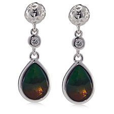 Canadian Ammolite Triplet Faceted Teardrop Earrings Sterling Silver