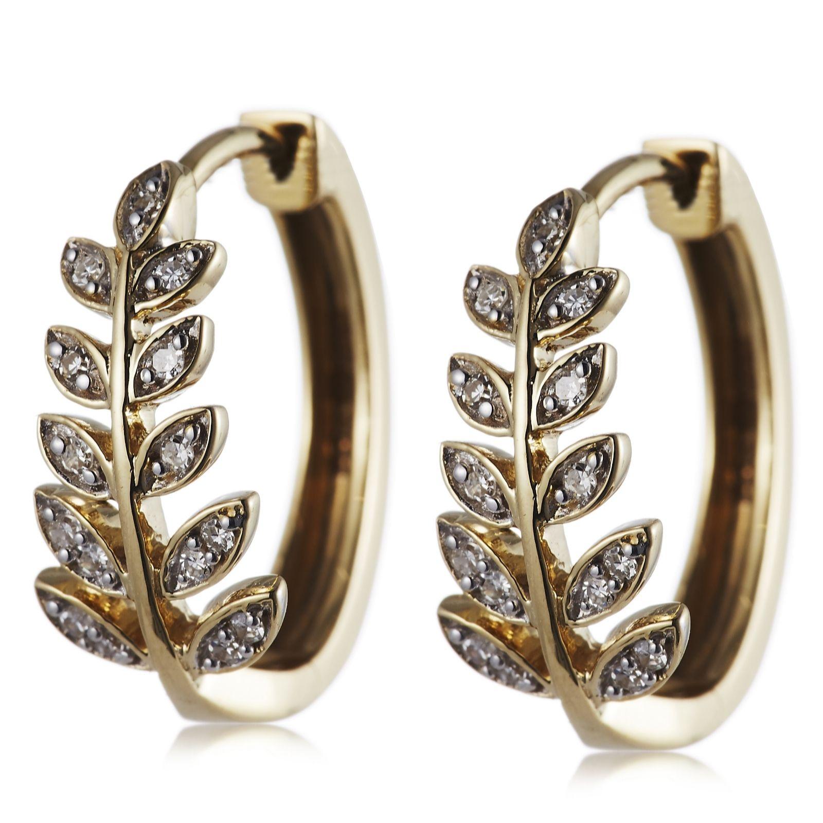 6f252a19f54172 0.10ct Diamond Leaf Huggie Earrings 9ct Gold - QVC UK