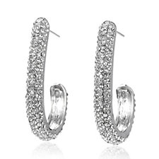 Loverocks Pave Crystal Hoop Earrings