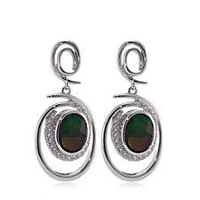 Canadian Ammolite Triplet Faceted Oval Drop Earrings Sterling Silver