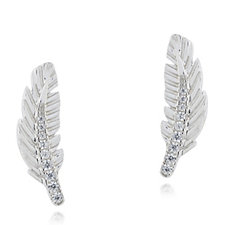 Diamonique 0.1ct Feather Stud Earrings Sterling Silver