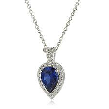 Diamonique 2ct tw Simulated Sapphire Pear Cut Pendant & Chain Sterling Silver